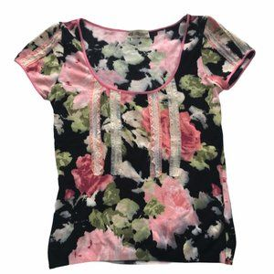 BLUMARINE fine knit floral top with lace 36/6/S